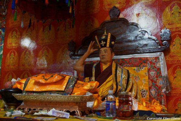 A (modern) wax statue of the previous, 16th Karmapa