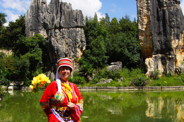 Me at Stone Forest dressed up in the costume of a lady of the Yi ethnic minority