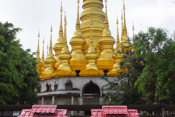 Pagoda (in construction) at the Meng Le Temple, Jinghong, Xishuangbanna