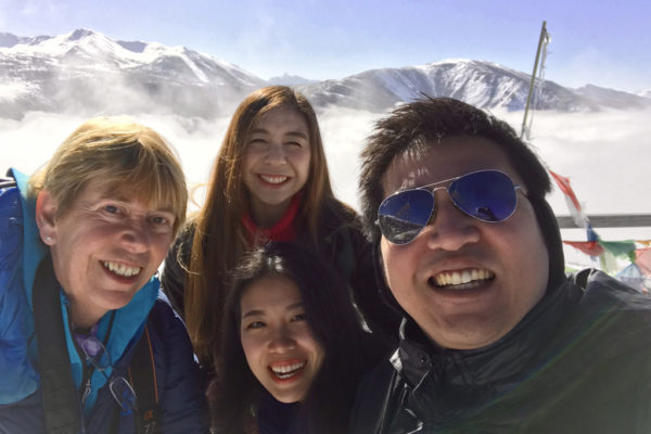 Me with three fellow travellers for the trip to Huanglong NP on Xueshanliang pass (Snow Mountain Pass)