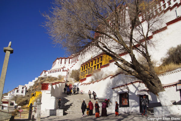 Climbing up the stairs to the Potala Palace, Lhasa