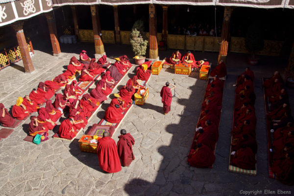 Monks debating at the courtyard of the Jokhang Temple, Lhasa