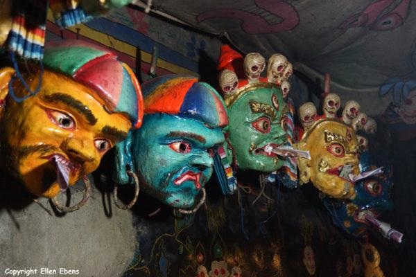Masks at Samding Monastery