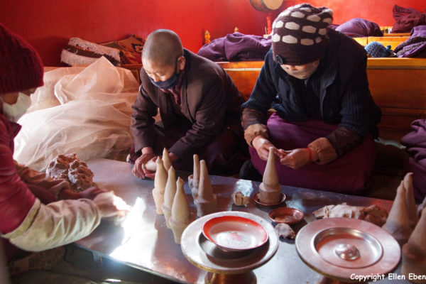 Nuns making tormas for the coming New Year (Losar) at Rabse Nunnery, Gyantse