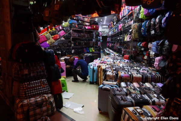 Shop selling suitcases in the city of Zhaotong