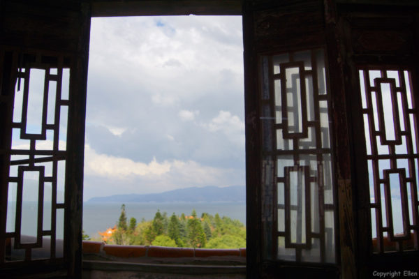 View from the stupa on the island in Fuxian Lake