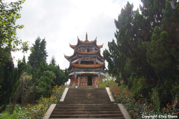 The stupa on the island in Fuxian Lake