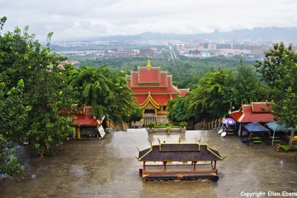 The Meng Le Temple complex with view on Jinghong
