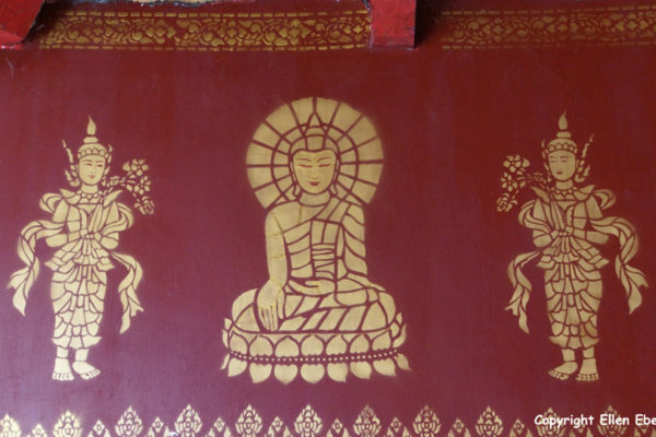 Wall decoration at the White Bamboo Shoot Pagoda complex near the border with Myanmar