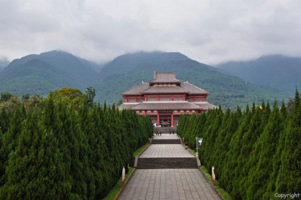 The Chongsheng Temple complex behind the three pagodas at Dali
