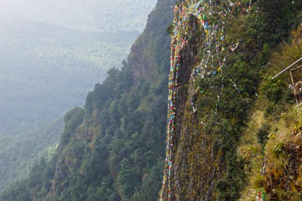 Tibetan monks on Tianzhu Peak of Jizu Shan (Jizu Mountain), at the top of the mountain, Tianzhu Peak