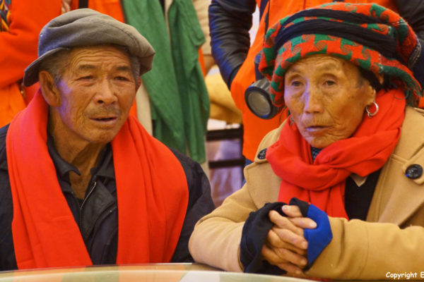 At the town of Songpan: volunteers treating the elderly from the elderly house because of Elderly Peoples Day