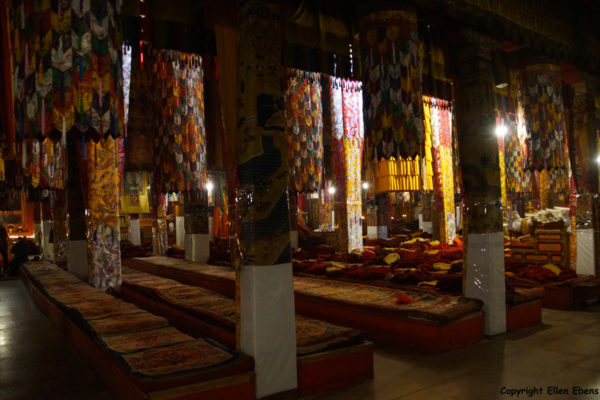Inside the main Assembly Hall of Ganden Monastery