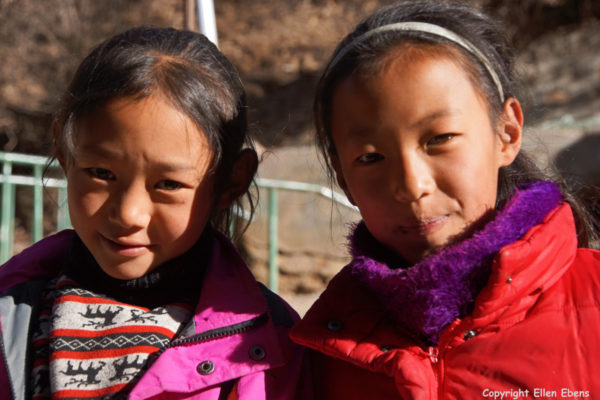 Two girls at Tidrum Nunnery