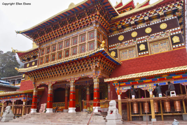 The newly constructed monastery at Bome (Pome). They were busy painting the gompa.