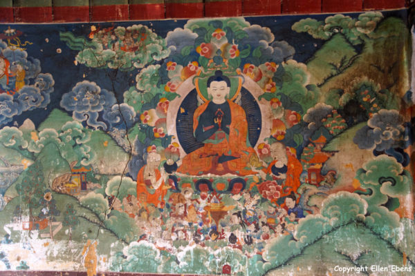 Wall painting in one of the minor temples of Samye Monastery