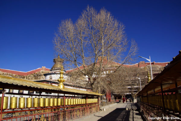 Prayer wheels at the Pelkor Chode Monastery