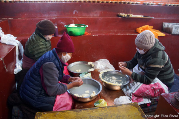 Nuns at Rabse Nunnery making thorma's for the coming Tibetan New Year