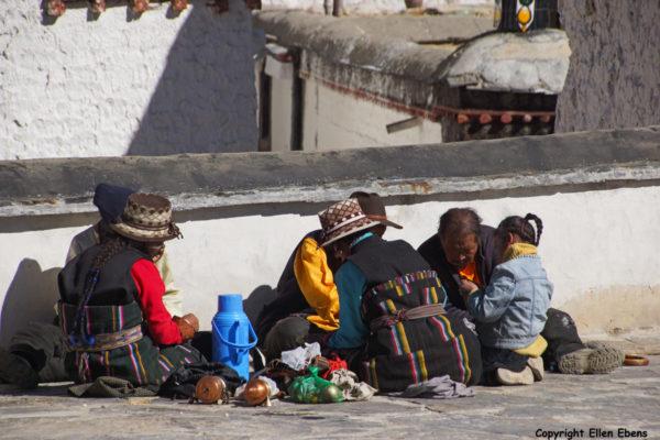 Pilgrims picnicking inside Tashilhunpo Monastery, Shigatse