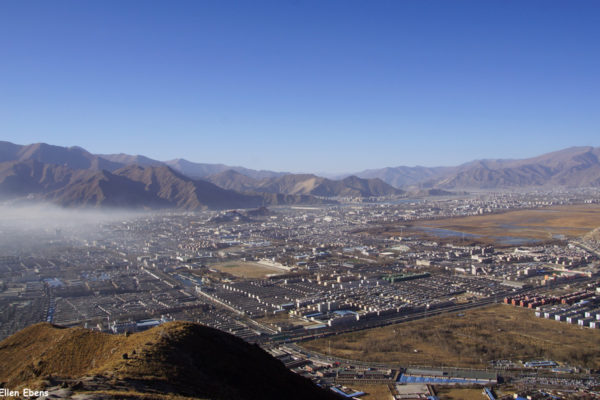 View on Lhasa and the Potala Palace from the mountain above Sera Monastery