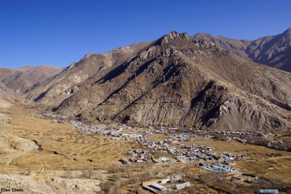 View from Pulchok (Purbuchok) hermitage in the mountains surrounding Lhasa