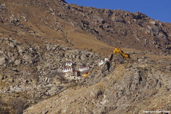 Pulchok (Purbuchok) hermitage in the mountains surrounding Lhasa