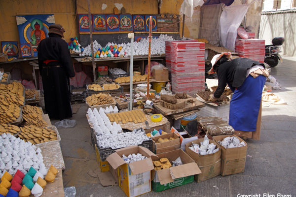 Lhasa, things on sale for pilgrims at Chakpori Hill