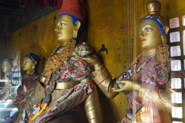 Inside one of the caves at Drak Yerpa Meditation Caves, King Songtsen Gampo with his wives