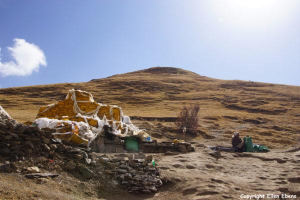 On the hill annex Drak Yerpa Meditation Caves