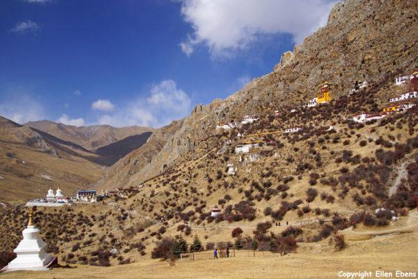 View on Drak Yerpa Meditation Caves