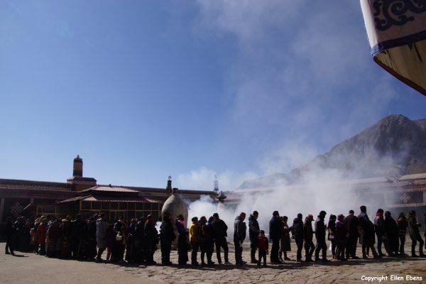 Pilgrims at Netchung Monastery, Lhasa