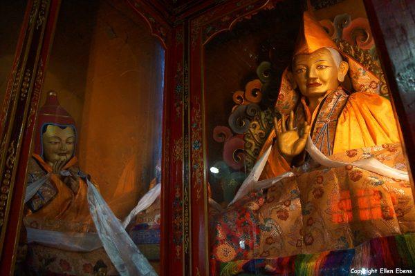 Statues inside Nedong Monastery