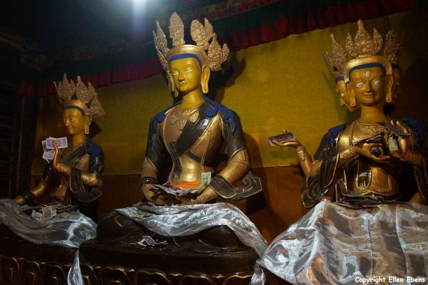 Statues inside Ralung Monastery