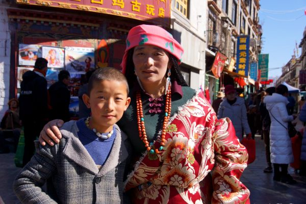 Mother and son at the Barkhor, Lhasa